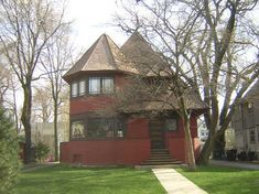 "Robert Parker House / 1019 Chicago Avenue, Oak Park, IL / 1892 /  Queen Anne / Frank Lloyd Wright --  One of 3 houses along Chicago Avenue in Oak Park which have come to be known as American architect Frank Lloyd Wright's ""Bootleg Houses."" The triplet of houses includes the Thomas H. Gale House and the Walter Gale House as well as the Parker House and they were designed by Wright independently while he was still employed by Adler and Sullivan. The Parker House is one of four that still…"