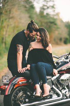 Motorcycle engagement session. Love this edgy romantic look. Something Blue Wedding Photography.