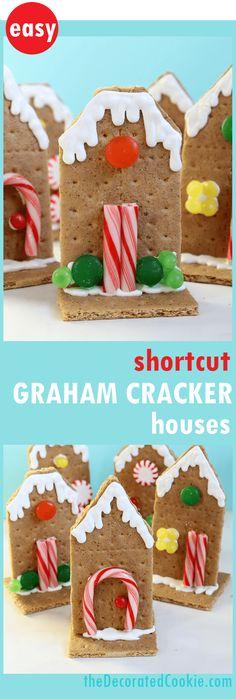 "Sanity-saving 2D graham cracker houses! Shortcut ""gingerbread houses"" for kid-friendly Christmas craft."
