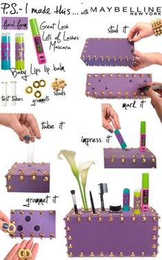 Create your own cosmetic organizer, from floral foam. Plus you can make all the holes the perfect size for your things.