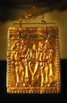 A view of the world's unique preserved copy of the Etruscan gold book in Bulgaria's National Museum of History in Sofia.