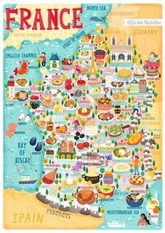 France Map, France Travel, Travel Maps, Travel Posters, Food Map, Map Design, Map Art, Illustration, Travel Inspiration