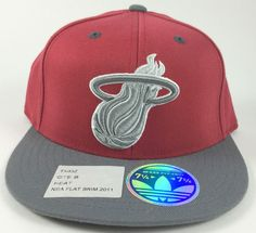 NWT Adidas Miami Heat Red Gray 210 Fitted Hat Flat Brim 2011 7 1 4-7 5 8  TX83Z  adidas  MiamiHeat 44aacb4dee5