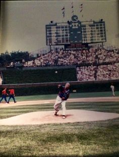 Bob Chinn throwing out a pitch at Wrigley Field.  Bob Chinn's World Famous Mai Tai's are now available at Wrigley Field. www.talesfromthetiki.wordpress.com