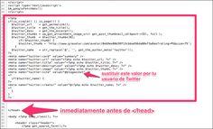 ¿Como colocarlo en tu blog de WordPress? 1)Primero infórmate bien de cómo realizarlo  2)Inserta el código header_tc.txt desde Blogpocket.com con el código necesario para añadir a tu archivo header.php).   Tan solo deberás  hacer un cambio en el código proporcionado mediante el archivo header_tc.txt: sustituyendo @Antonio Cambronero por tu nick de Twitter, como se puede observar en esta imagen que vi en  el blog de Antonio Cambronero.