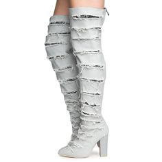 8f5067b2ca55b8 Cape Robbin Beautiful-8 Women s Ripped Gray Heeled Thigh High Boots GRAY