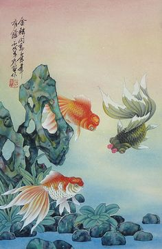 Chinese Painting of Fish of Wealth P10164.