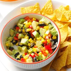 Avocado Salsa Recipe -I was planning a party and thought it might be fun to try a different kind of avocado salsa. This recipe was an absolute success. Scoop it up with chips, spoon it over chicken or steak, or eat it on its own! —Susan Vandermeer, Ogden, Utah