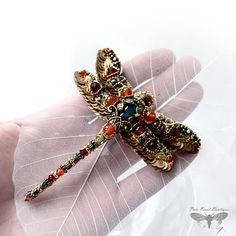 Dragonfly jewelry Dragonfly brooch Nature inspired designer jewelry Bead embroidered Insect Dragonfly art jewelry Unique anniversary gift