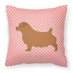 """Caroline's Treasures Norfolk Terrier Indoor/Outdoor Throw Pillow Color: Pink, Size: 18"""" H x 18"""" W x 3"""" D"""
