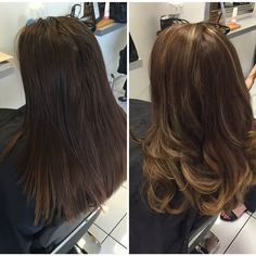 Before & after shot balayage foils, long layers & blow wave curls