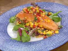Get Grilled Salmon with a Pineapple, Mango and Strawberry Salsa Recipe from Food Network