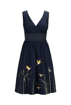eShakti Women's Cranes in the reeds dress XS-0 Regular Deep navy/yellow/olive eShakti http://www.amazon.com/dp/B00JMD7AK4/ref=cm_sw_r_pi_dp_.-WJtb0FFF5S24VE