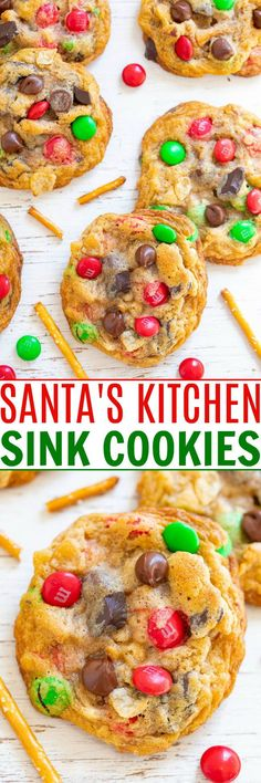 Santa's Kitchen Sink Cookies — Santa and everyone else won't be able to resist these AMAZING cookies loaded with everything but the kitchen sink!! EASY, festive, salty-sweet treats with a FUN ingredients list!! Holiday Cookie Recipes, Best Dessert Recipes, Fun Desserts, Snack Recipes, Cooking Recipes, Desert Recipes, Easy Recipes, Dinner Recipes, Potato Chip Flavors