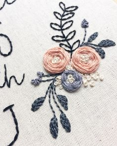 Currently obsessing over these florals for a gorgeous custom hoop i'm working on. Gonna be reeeeeeeally hard to let this beauty go 😔🌺🌿 Floral Embroidery Patterns, Hand Work Embroidery, Embroidery Monogram, Modern Embroidery, Embroidery Hoop Art, Hand Embroidery Designs, Embroidery Stitches, Tiny Cross Stitch, Brazilian Embroidery