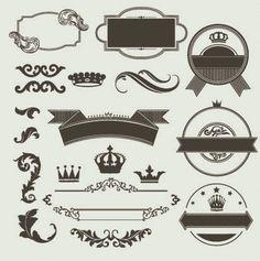 label, crown, damask, flourish, clipart, clip art, decorative, ornament