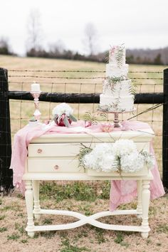 Love this for the ceremony table/altar... shabby chic buffet with blush pink glass knobs