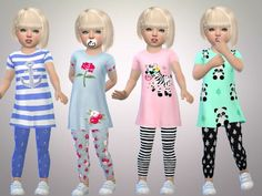 The Sims Resource: Toddler Girls Full Outfits by SweetDreamsZzzzz • Sims 4 Downloads