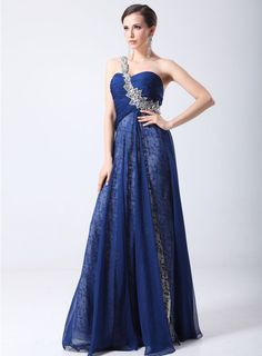 Graceful A-line One-Shoulder Beading Lace Ruffles Long Evening Dress