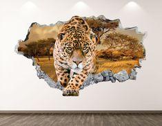 Cheetah muur sticker-dierlijke Leopard 3D Smashed Wall Art | Etsy Leopard Nursery, Leopard Wall, Cheetah, Wall Stickers Circles, Kids Stickers, Wild Animal Wallpaper, Dinosaur Wall Decals, Kids Room Murals, Tropical Wallpaper