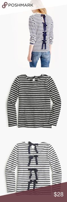 T-Shirt with Bow-Embellished Back - J. Crew Twist on the classic striped t-shirt. Ribbon bows  with a hint of shimmer along the back. Slightly loose fit. 100% Cotton. Size Medium. EXCELLENT USED CONDITION. Worn once. No stains/odors. J. Crew Tops