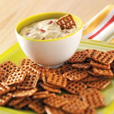 Dijon-Bacon Dip for Pretzels Recipe -With just four ingredients that you probably already have, this quick appetizer comes together in a snap. If you like the zip of horseradish, start with one or two teaspoons and add more to your taste. —Isabelle Rooney, Summerville, South Carolina