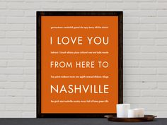 Delight the country music lover in your life with a Nashville Tennessee wall poster! This poster will remind your of all your favorite Nashville memories. Modern typography art makes a memorable weddi