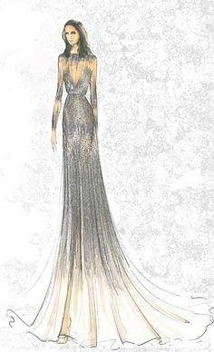 vestido de tul de manga larga minuciosamente bordado con paillettes y cristales que descendían como una cascada de rayos de sol.
