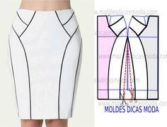Analise com a devida atenção a execução do molde de saia midi justa. Está explicada com grande rigor, em pormenor no desenho em baixo, para que concluam...