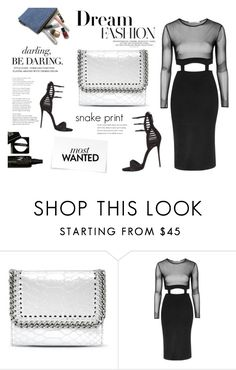 """Obession"" by littlemisscupcake88 ❤ liked on Polyvore featuring STELLA McCARTNEY, Topshop, Giuseppe Zanotti, black, StellaMcCartney, snakeprint and fashiontrend"