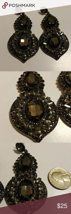 Black layered crystal rhinestone earrings Black tear drop crystals surrounded by black crystals Jewelry Earrings