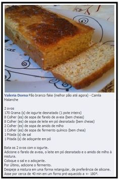 A partir da segunda Fase - Cruzeiro Pan Sin Gluten, Low Carb Bread, Fodmap, Banana Bread, Paleo, Food And Drink, Easy Meals, Yummy Food, Cooking