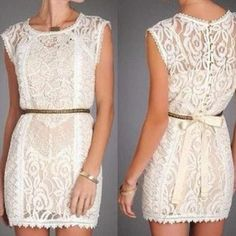 Love this white lace dress. With cowgirl boots