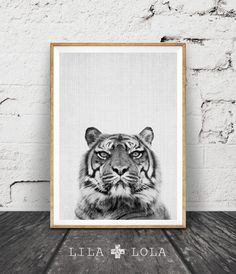 Print 45 is a contemporary downloadable print, featuring a black and white tiger on a grey background with a woven texture pattern throughout.  Its as