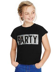 Pure Cotton Party Slogan T-Shirt with StayNEW™ (5-14 Years)