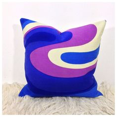Handmade 1970s Vintage Retro Psychedelic Fabric Cushion Cover  £15.50