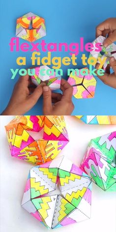 Flextangles : The coolest paper toy ever! Get the template and instructions on Babble Dabble Do. Make this paper toy and be mesmerized by the colorful action! Get the template and instructions on Babble Dabble Do. Paper Crafts Origami, Paper Crafts For Kids, Craft Activities For Kids, Paper Crafting, Math Crafts, Camping Activities, School Art Projects, Projects For Kids, Paper Art Projects