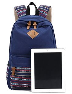 Canvas Bookbag Daypack Backpack Laptop Bag for School College ...
