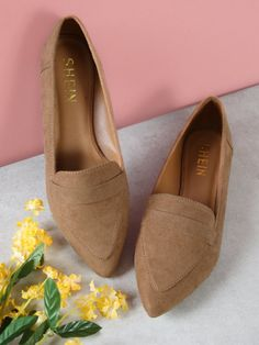 311bb029cc5 Vegan Suede Pointy Toe Flat Loafer Shoes -SheIn(Sheinside) Suede Loafers