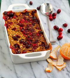 This healthy orange-infused baked oatmeal is studded with crunchy walnuts and bursting with juicy cranberries.