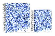 Teacher Planners - Blue Handpainted Floral Custom Teacher Planner