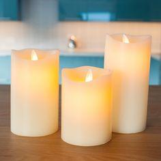 3 Ivory Wax Dancing Flame Battery Pillar Candles