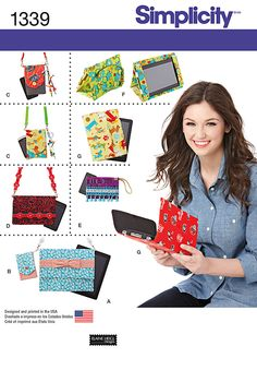 DIY easy to carry tech covers that keep your electronics protected. Simplicity Pattern 1339 includes patterns for iPad cover, E-reader cover and cell phone covers in various sizes with removable straps or wrist strap
