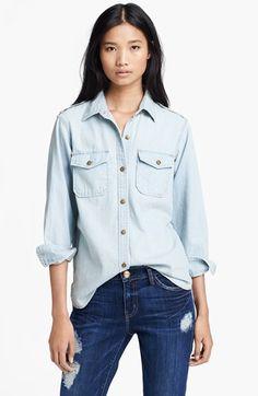 $198, Light Blue Denim Shirt: Current/Elliott The Perfect Button Front Denim Shirt Pier 0. Sold by Nordstrom. Click for more info: https://lookastic.com/women/shop_items/65944/redirect