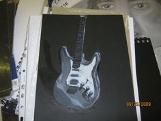 Greyscale guitar painting