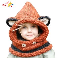 2016 New Design Cat Fox Ear Winter Windproof Baby Hats And Scarf Set For Kids Boys Girls Shapka Caps For Children Free Shipping