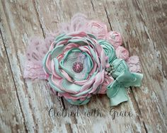 Tea Party Couture Headband-Singed Flower Headband by ClothedWGrace