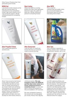 Horses - Testimonial on the use of our MSM Gel, Heat Lotion, MPD Liquid, Aloe Propolis Creme, Sunscreen, Aloe Lips - what a collection of helpful products. Buy them on my site here: www.foreverlasting.myforever.biz/store