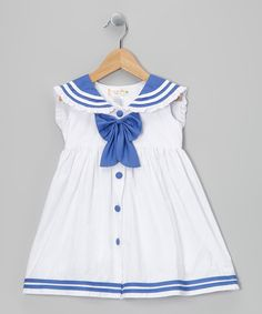 Take a look at this White & Periwinkle Sailorette Bow Dress - Infant & Toddler by Lele for Kids on #zulily today!