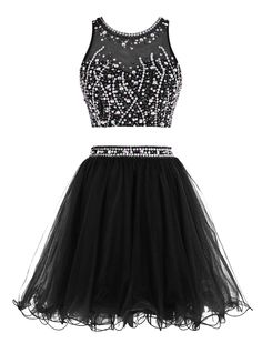 Tideclothes Short Beading Prom Dress Two Pieces Tulle Evening Dress Black US2